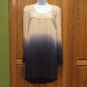 Blu Pepper Ombre Navy & Ivory Lace Dress Small